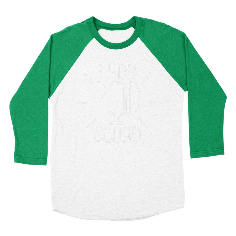 Lady Pod Squad white text mic logo Men's Baseball Triblend Longsleeve T-Shirt by Lady Pod Squad's Shop
