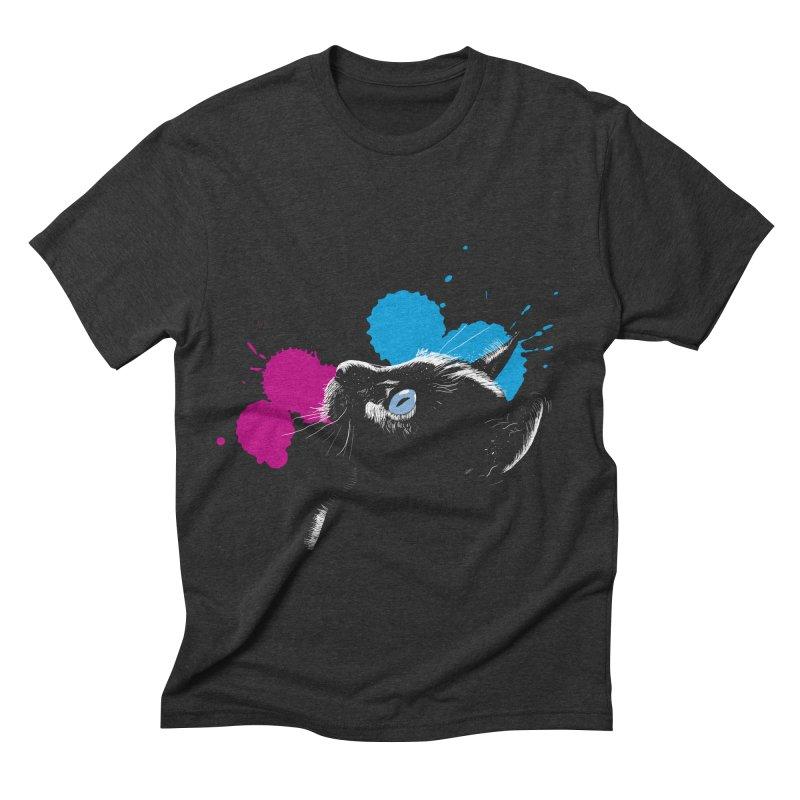 Cat In The Dark Men's Triblend T-shirt by laihn's Artist Shop