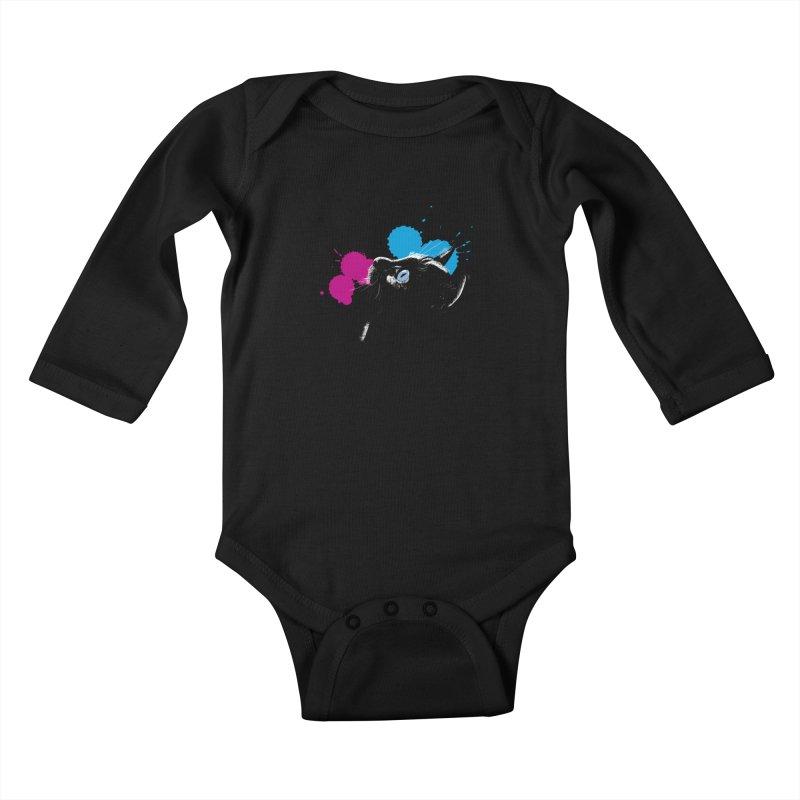 Cat In The Dark Kids Baby Longsleeve Bodysuit by laihn's Artist Shop