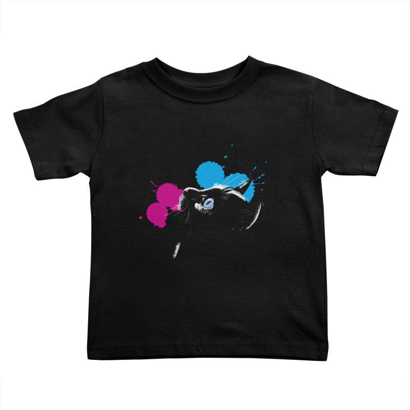 Cat In The Dark Kids Toddler T-Shirt by laihn's Artist Shop