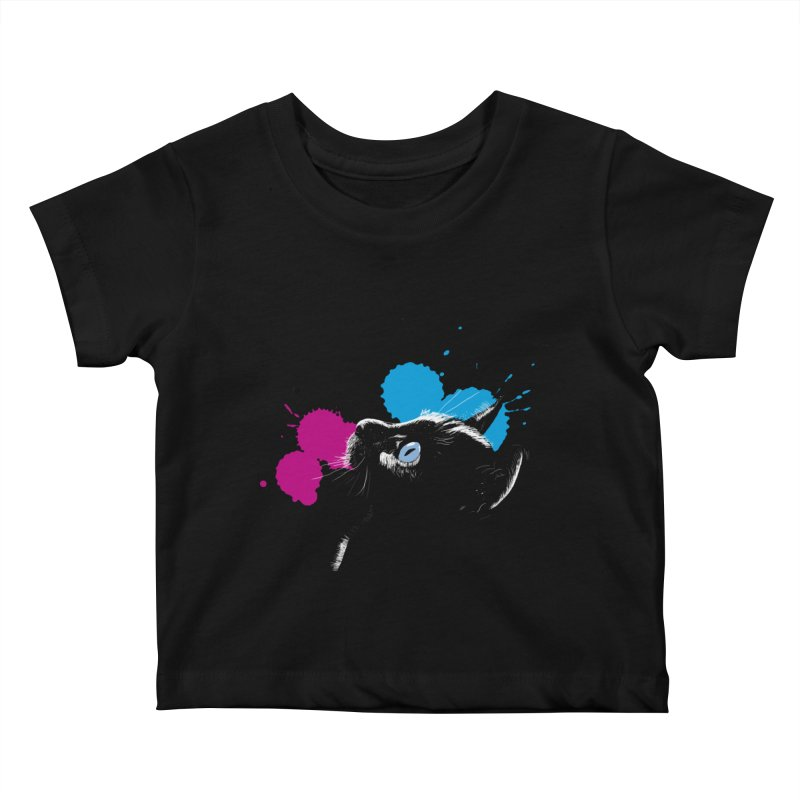 Cat In The Dark Kids Baby T-Shirt by laihn's Artist Shop