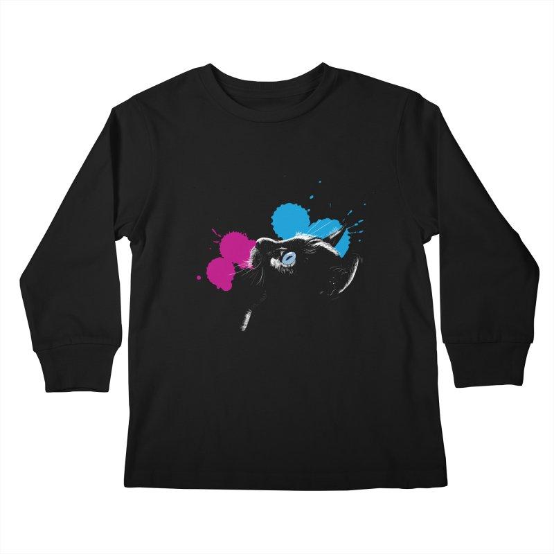 Cat In The Dark Kids Longsleeve T-Shirt by laihn's Artist Shop