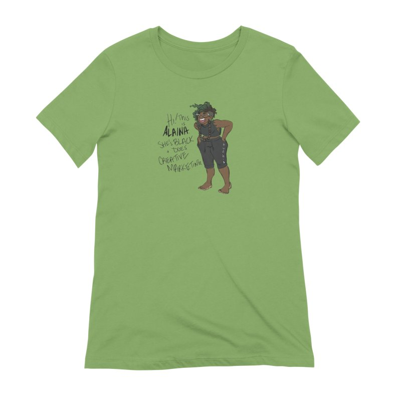 Hi! This is Alaina. And she's WIGGLY. Women's Extra Soft T-Shirt by LAINWEAR