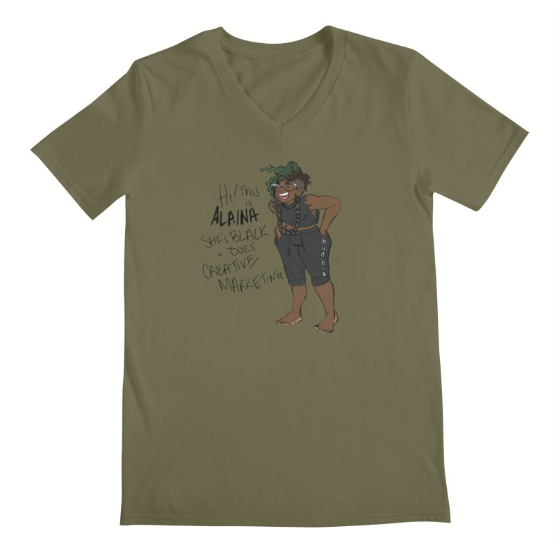 Hi! This is Alaina. And she's WIGGLY. Men's Regular V-Neck by LAINWEAR