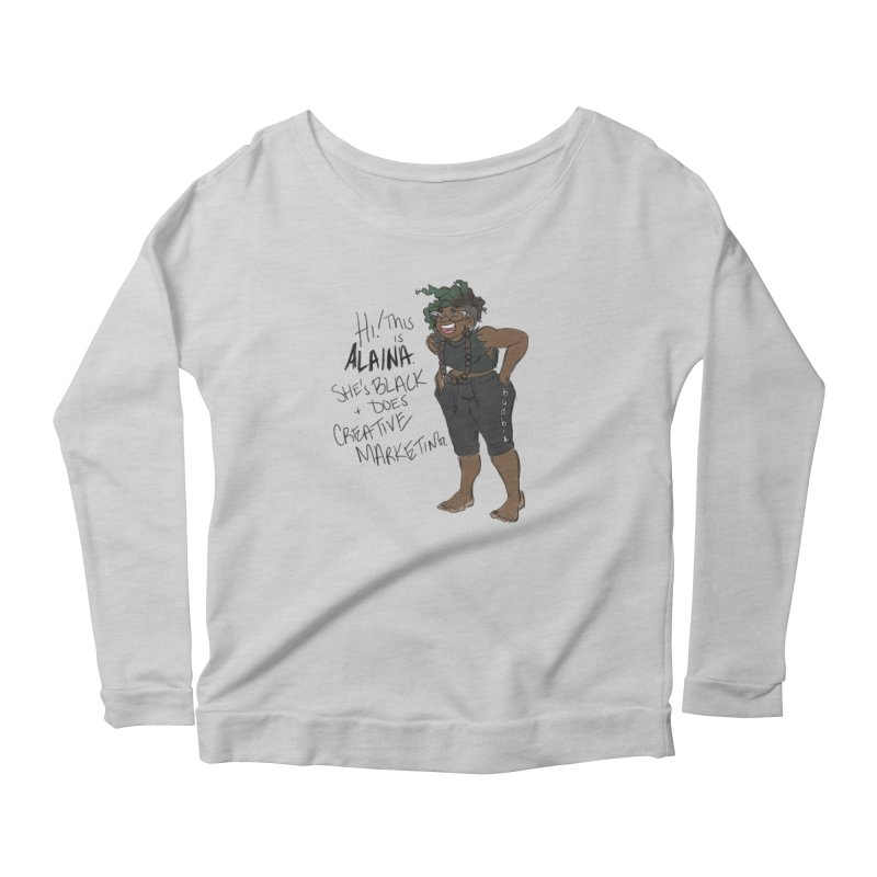 Hi! This is Alaina. And she's WIGGLY. Women's Scoop Neck Longsleeve T-Shirt by LAINWEAR