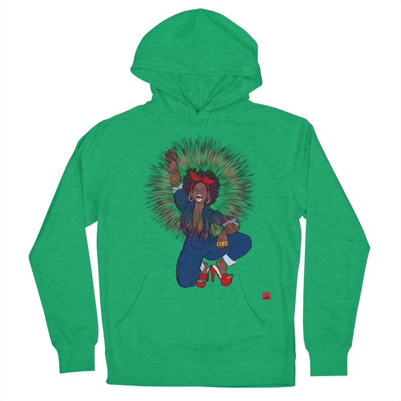 Black Woman's Roar Men's French Terry Pullover Hoody by rebelQuo