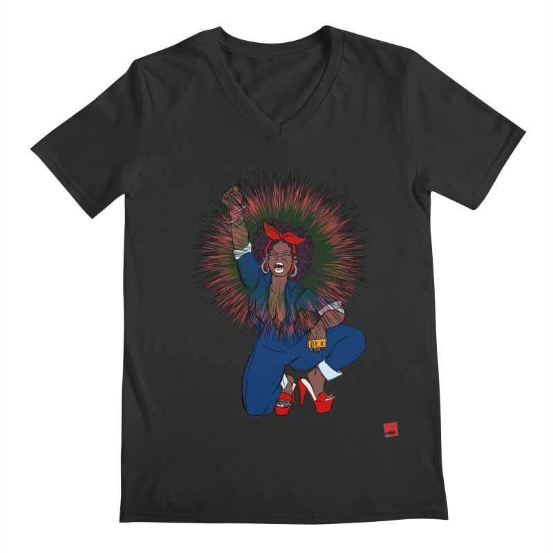 Black Woman's Roar Men's Regular V-Neck by rebelQuo