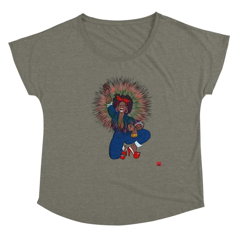 Black Woman's Roar Women's Dolman Scoop Neck by LAINWEAR