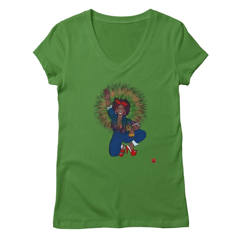 Black Woman's Roar Women's Regular V-Neck by LAINWEAR
