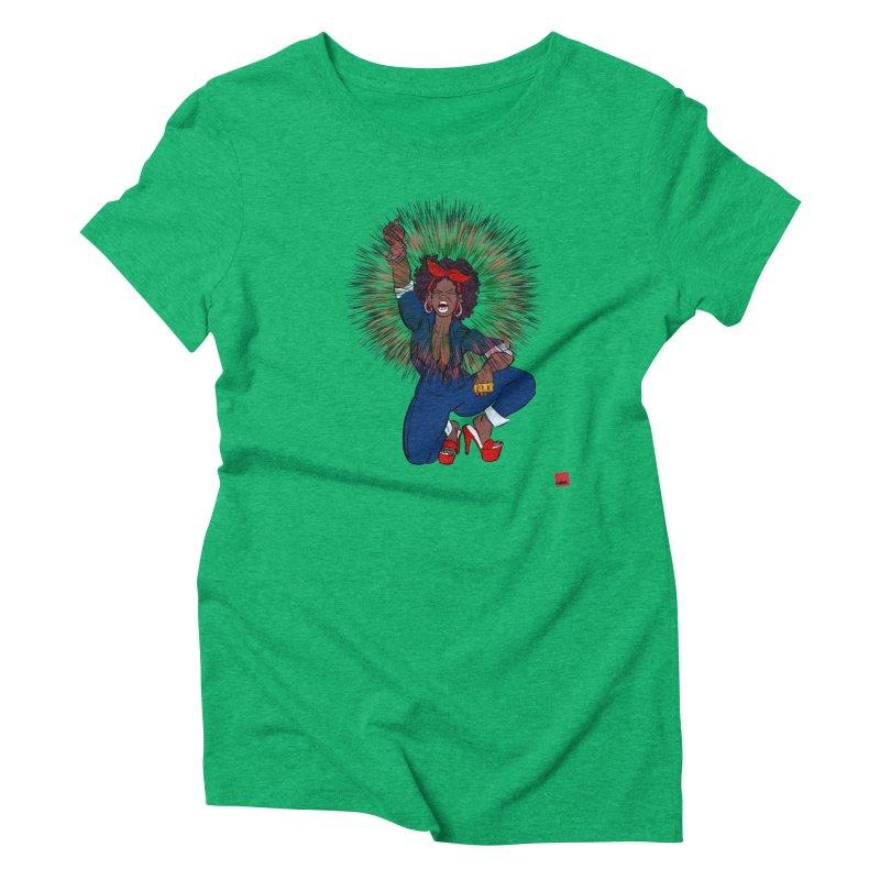 Black Woman's Roar Women's Triblend T-Shirt by rebelQuo