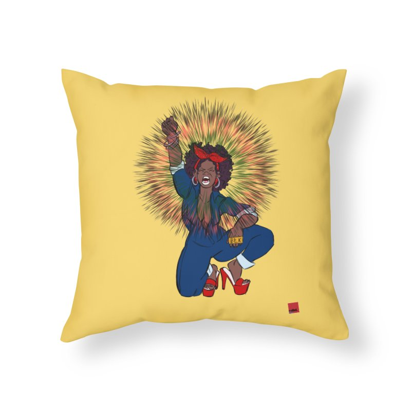 Black Woman's Roar Home Throw Pillow by rebelQuo