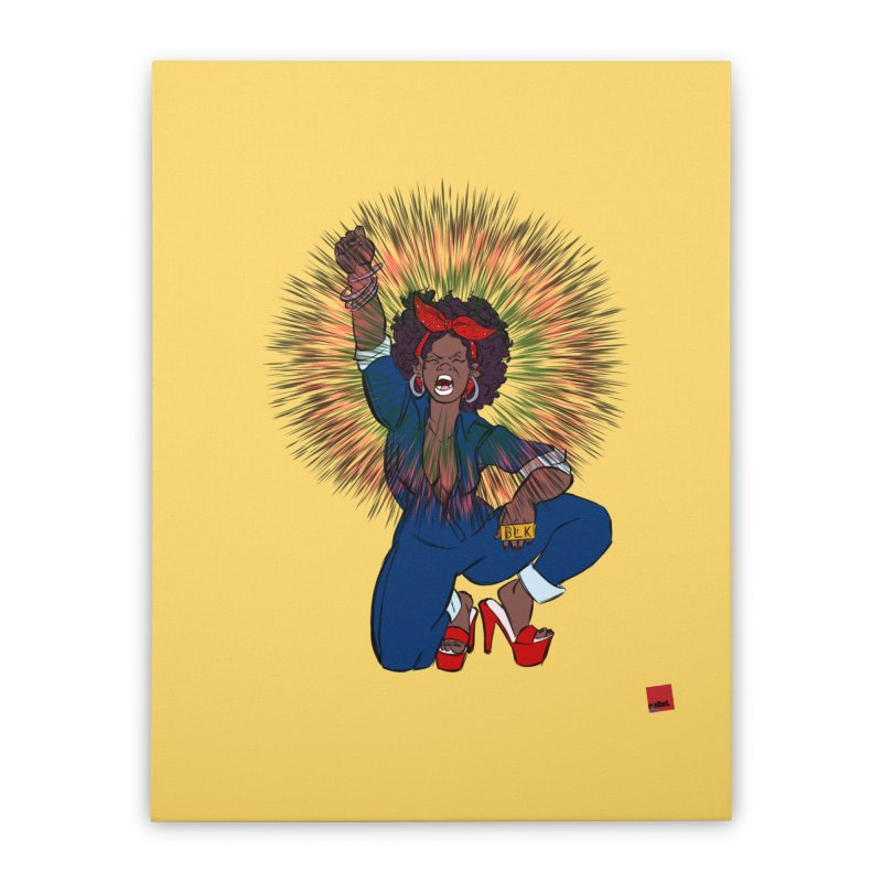 Black Woman's Roar Home Stretched Canvas by rebelQuo