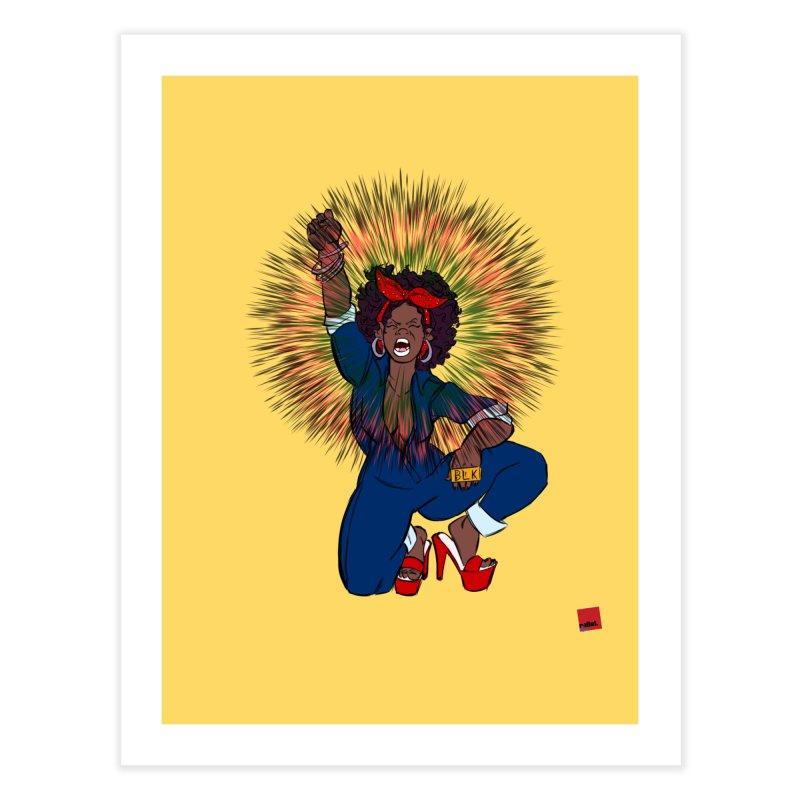 Black Woman's Roar Home Fine Art Print by rebelQuo