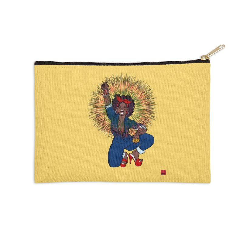 Black Woman's Roar Accessories Zip Pouch by LAINWEAR