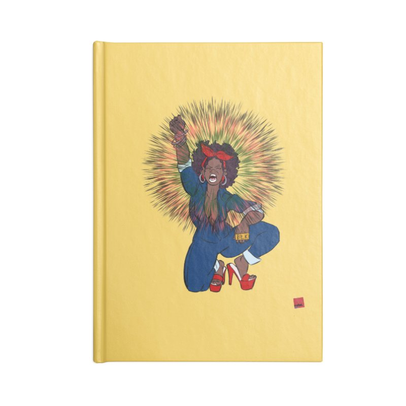 Black Woman's Roar Accessories Blank Journal Notebook by rebelQuo