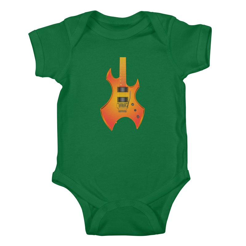 D11 Gold Rock Vertical Guitar Kids Baby Bodysuit by LajarinDream