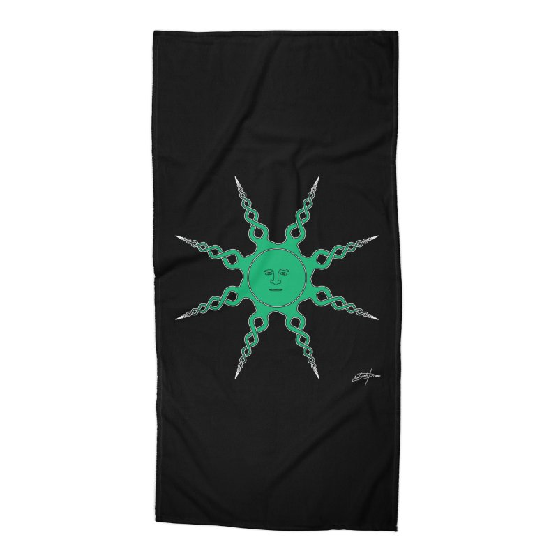 D23 Quiet Sun Green V4 Accessories Beach Towel by LajarinDream
