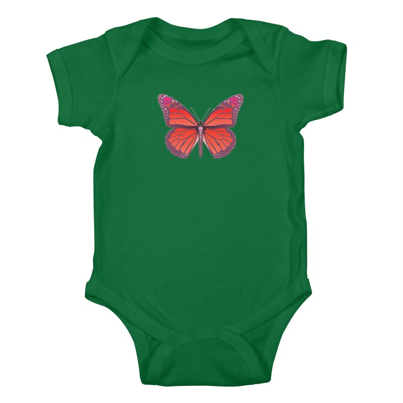 D28 monarch red butterfly by LajarinDream Kids Baby Bodysuit by LajarinDream