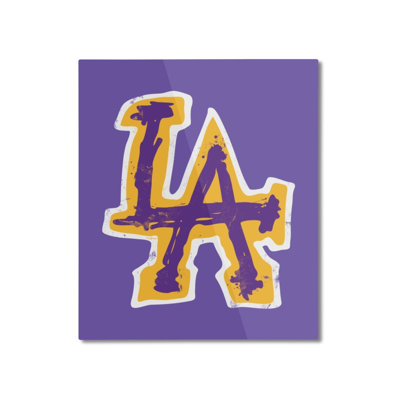 Purple and Gold LA Home Mounted Aluminum Print by lakersnation's Artist Shop