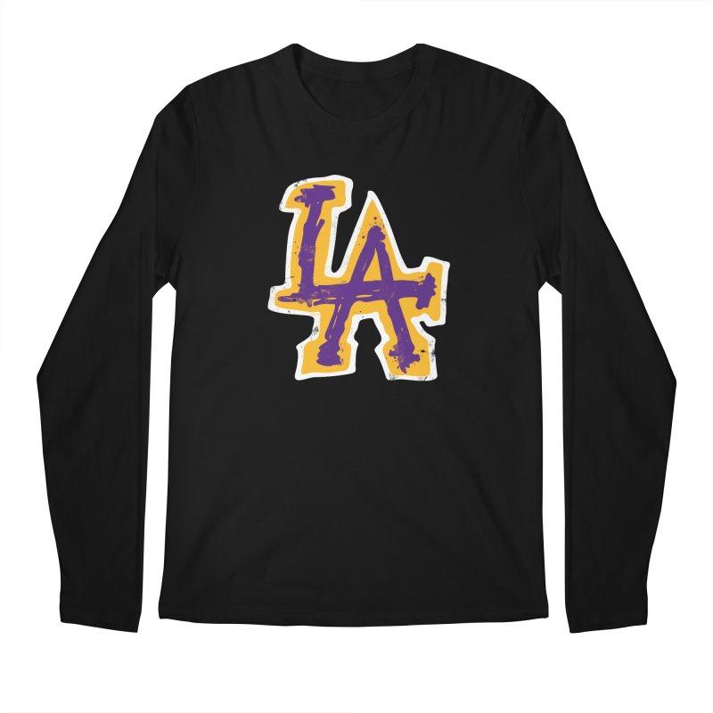 Purple and Gold LA Men's Regular Longsleeve T-Shirt by lakersnation's Artist Shop