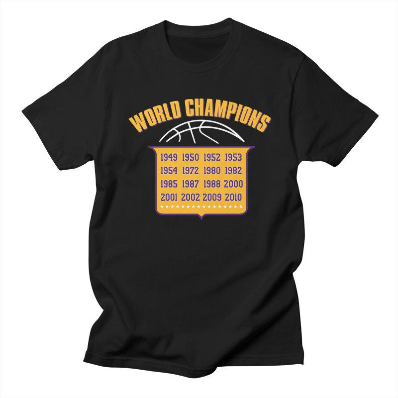 World Champions in Men's Regular T-Shirt Black by lakersnation's Artist Shop