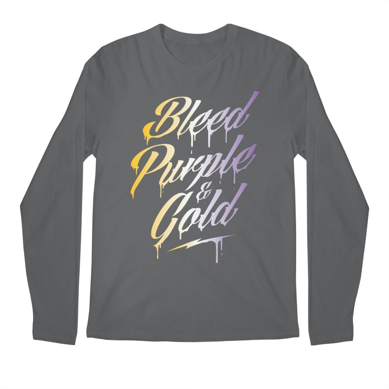 Bleed Purple and Gold 2 Men's Regular Longsleeve T-Shirt by Lakers Nation's Artist Shop