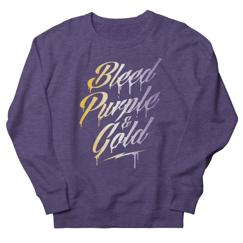 Bleed Purple and Gold 2 Men's French Terry Sweatshirt by Lakers Nation's Artist Shop