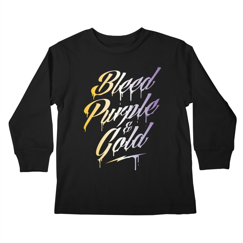 Bleed Purple and Gold 2 Kids Longsleeve T-Shirt by Lakers Nation's Artist Shop