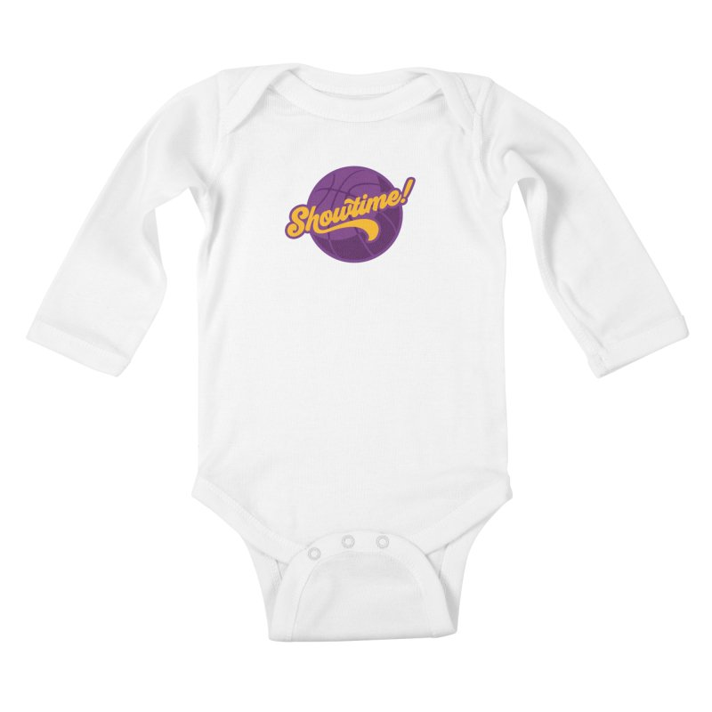 Showtime! Kids Baby Longsleeve Bodysuit by Lakers Nation's Artist Shop