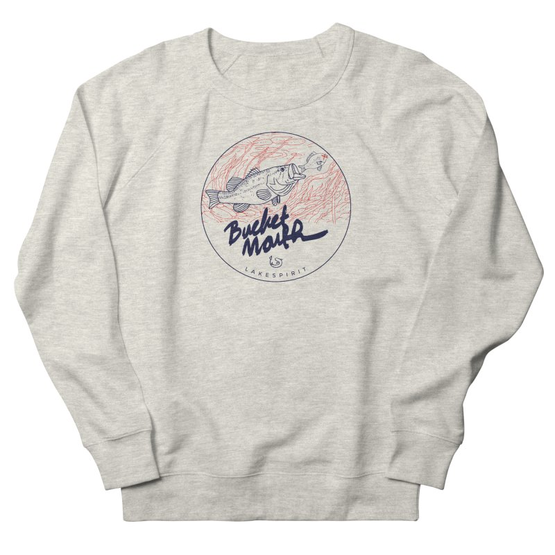 Bucketmouth in Men's Sweatshirt Heather Oatmeal by lakespirit fishing art