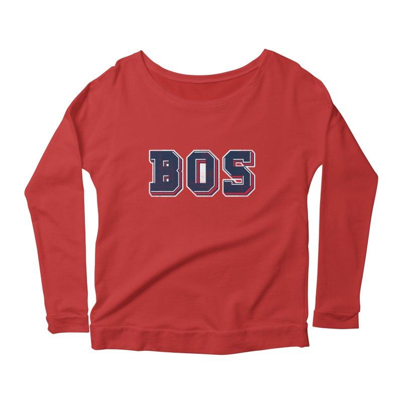 BOS- Red Women's Longsleeve Scoopneck  by Lance Lionetti's Artist Shop
