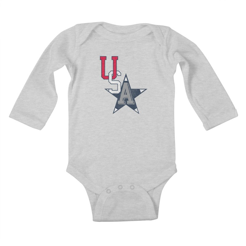 USA Star Kids Baby Longsleeve Bodysuit by Lance Lionetti's Artist Shop