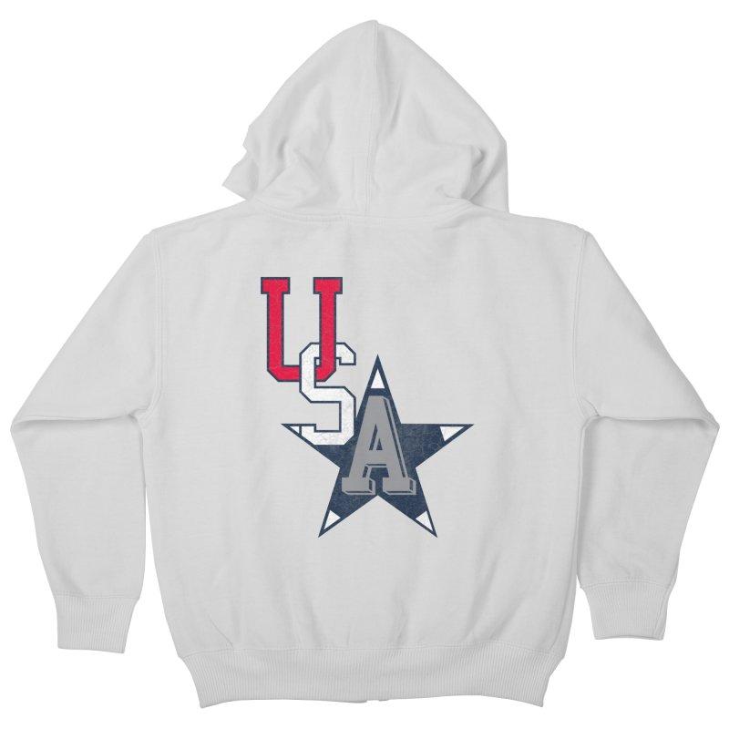 USA Star Kids Zip-Up Hoody by Lance Lionetti's Artist Shop
