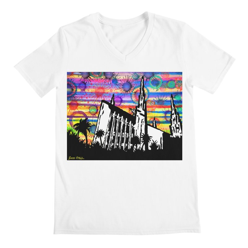 Las Vegas Temple Men's V-Neck by Lance Olson Art