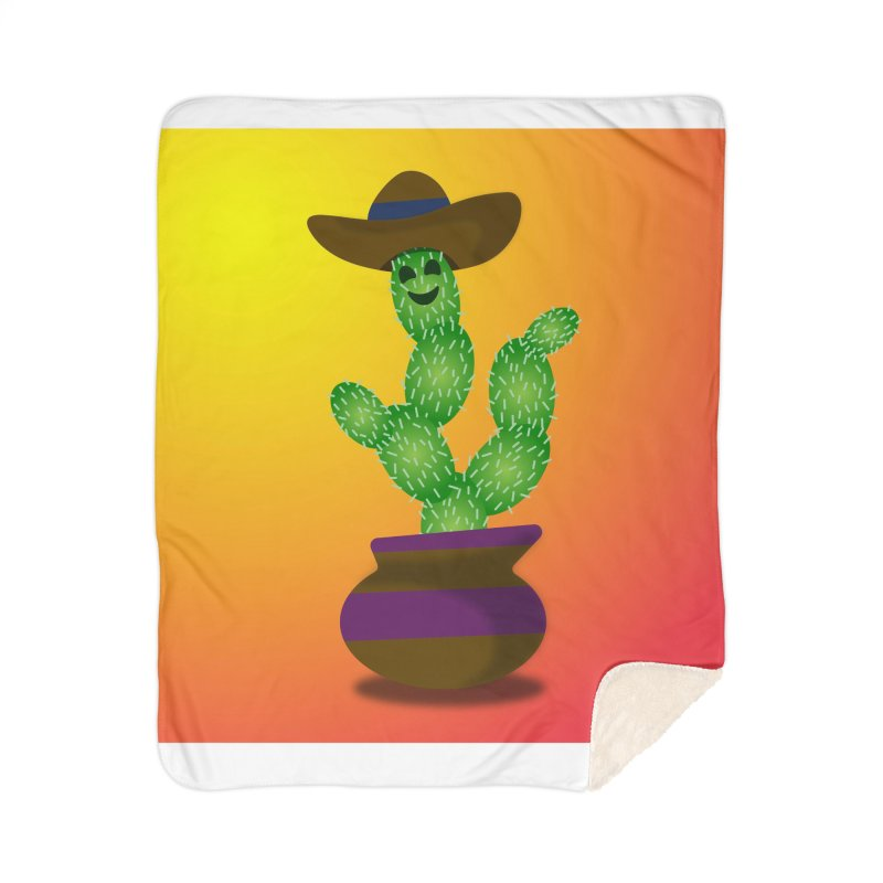 Happy Cactus Home Blanket by Lance Olson Art