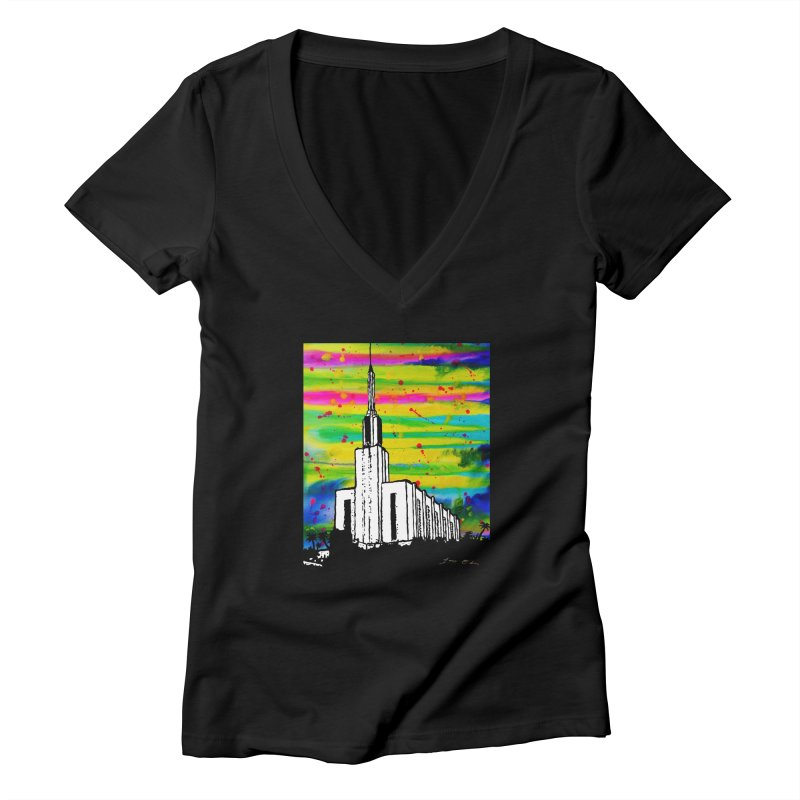 Hamilton Temple Women's V-Neck by Lance Olson Art