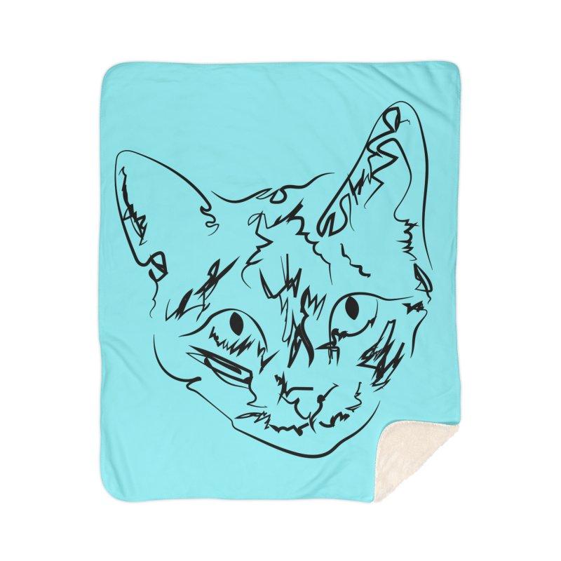Scribble Kitty Home Blanket by Lance Olson Art