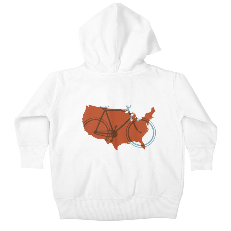 Bike America Kids Baby Zip-Up Hoody by landonsheely's Artist Shop