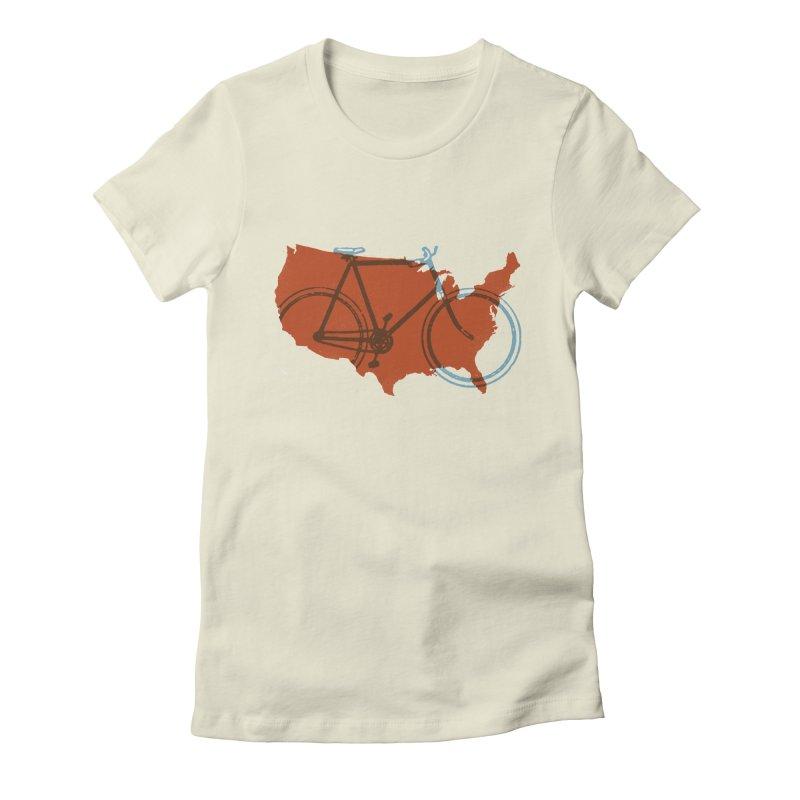 Bike America Women's Fitted T-Shirt by landonsheely's Artist Shop