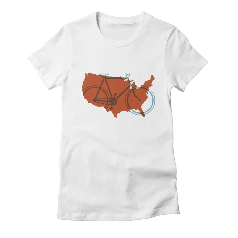 Bike America Women's Fitted T-Shirt by landonsheely's Artist Shop