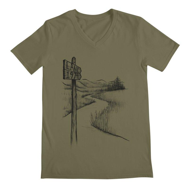 Lane 1974 Sign Post Design Men's V-Neck by Lane 1974's Shirt Shop