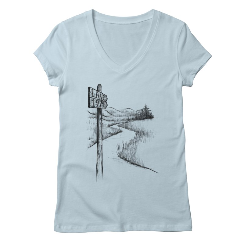 Lane 1974 Sign Post Design Women's V-Neck by Lane 1974's Shirt Shop