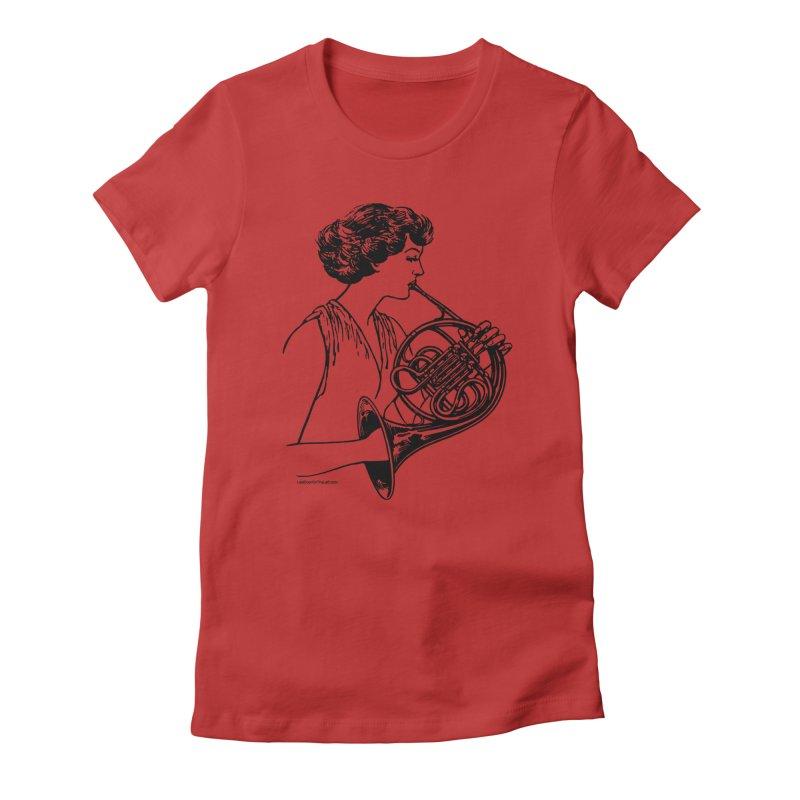 Girls Love French Horns Women's T-Shirt by Last Door on the Left