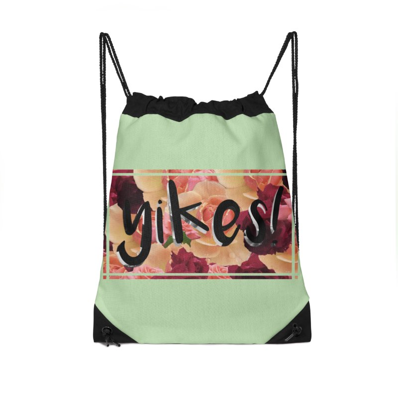 yikes! Accessories Drawstring Bag Bag by Later Louie's Artist Shop