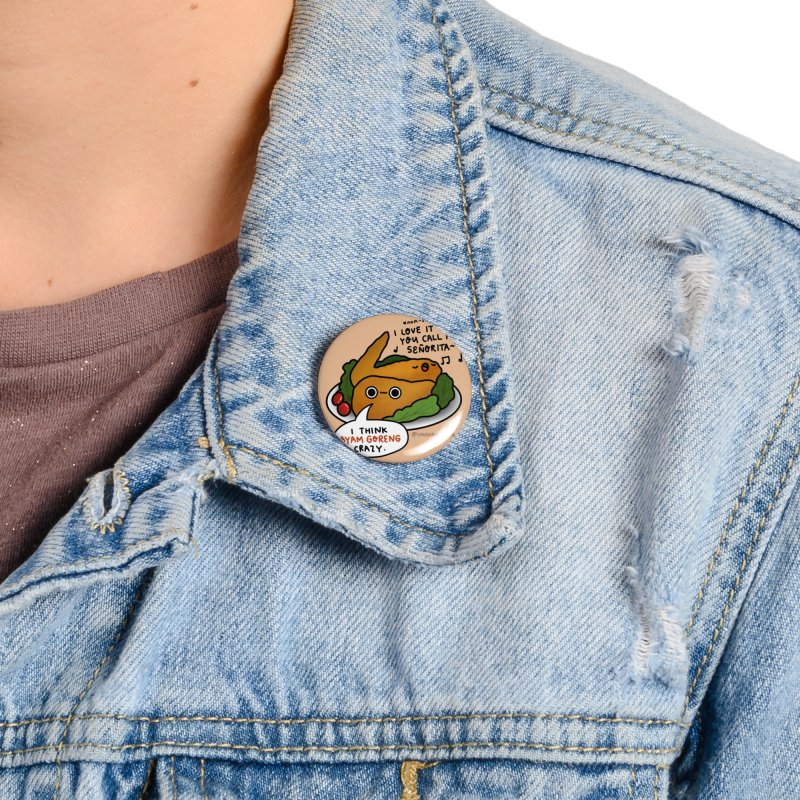 Ayam Goreng Crazy (By Singaporeans For Singaporeans) Accessories Button by Laugh And Belly's Merch