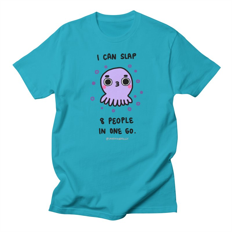 I Can Slap 8 People In One Go in Men's Regular T-Shirt Cyan by Laugh And Belly's Merch