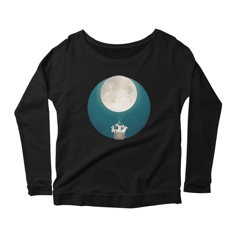 Moon Bunnies Women's Longsleeve Scoopneck  by lauragraves's Artist Shop