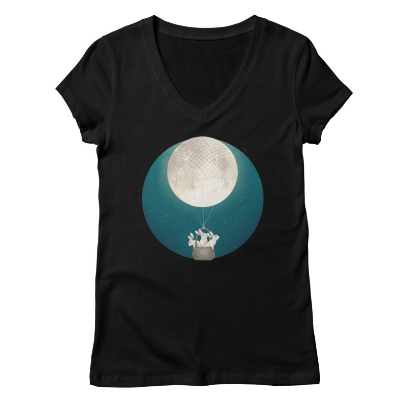 Moon Bunnies Women's V-Neck by lauragraves's Artist Shop