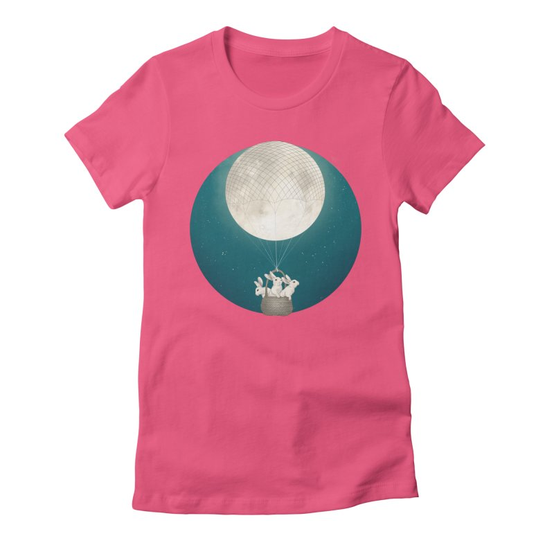 Moon Bunnies Women's Fitted T-Shirt by lauragraves's Artist Shop