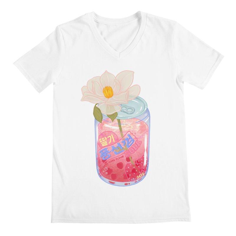 Strawberry Bubblegum Men's V-Neck by Laura OConnor
